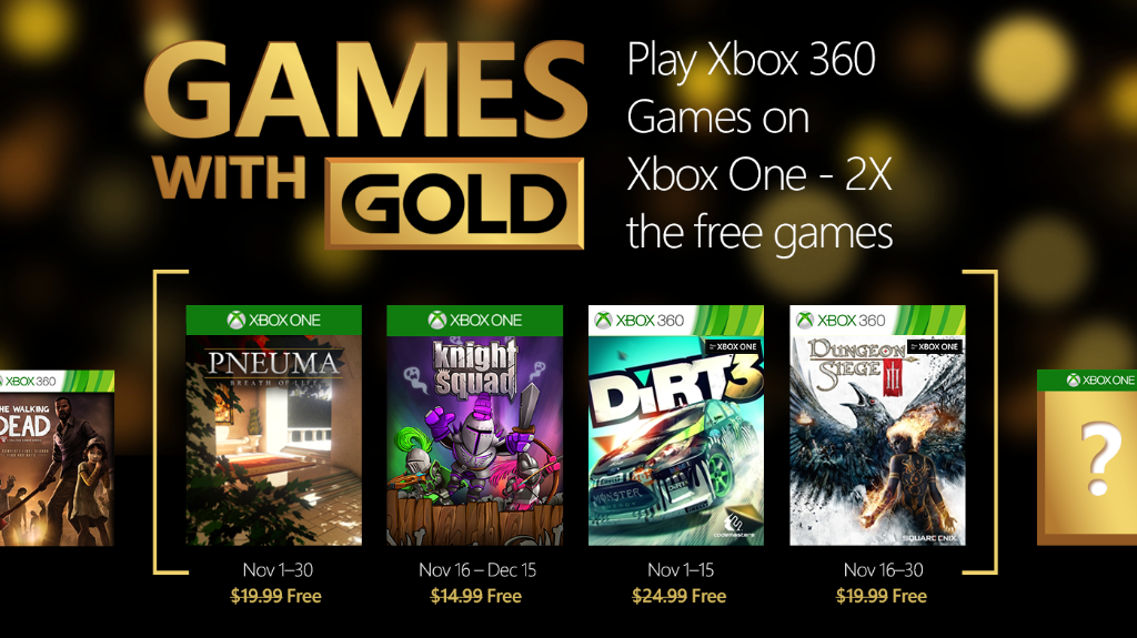Xbox Live's Games With Gold – November 2015