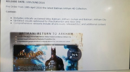 Batman Arkham HD Collection Spotted for PS4, XB1