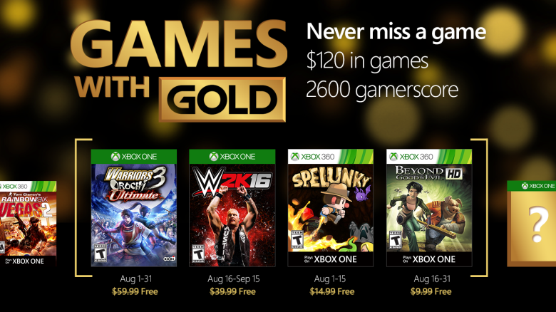 Xbox Live's Games With Gold – August 2016
