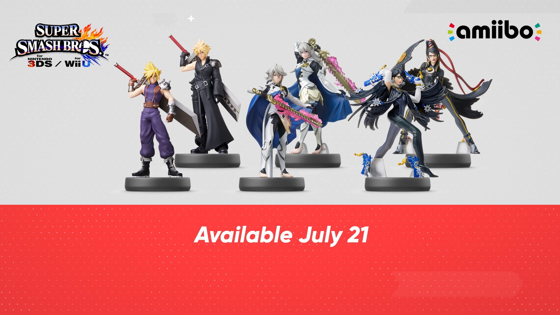 Corrin, Bayonetta, Cloud amiibo Launching July 21st