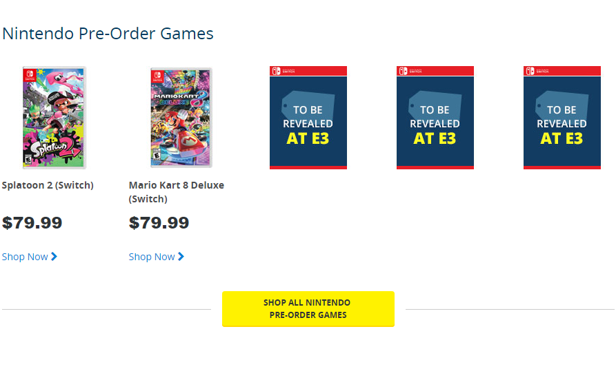 Best Buy Canada Lists Three Unannounced Nintendo Switch Titles