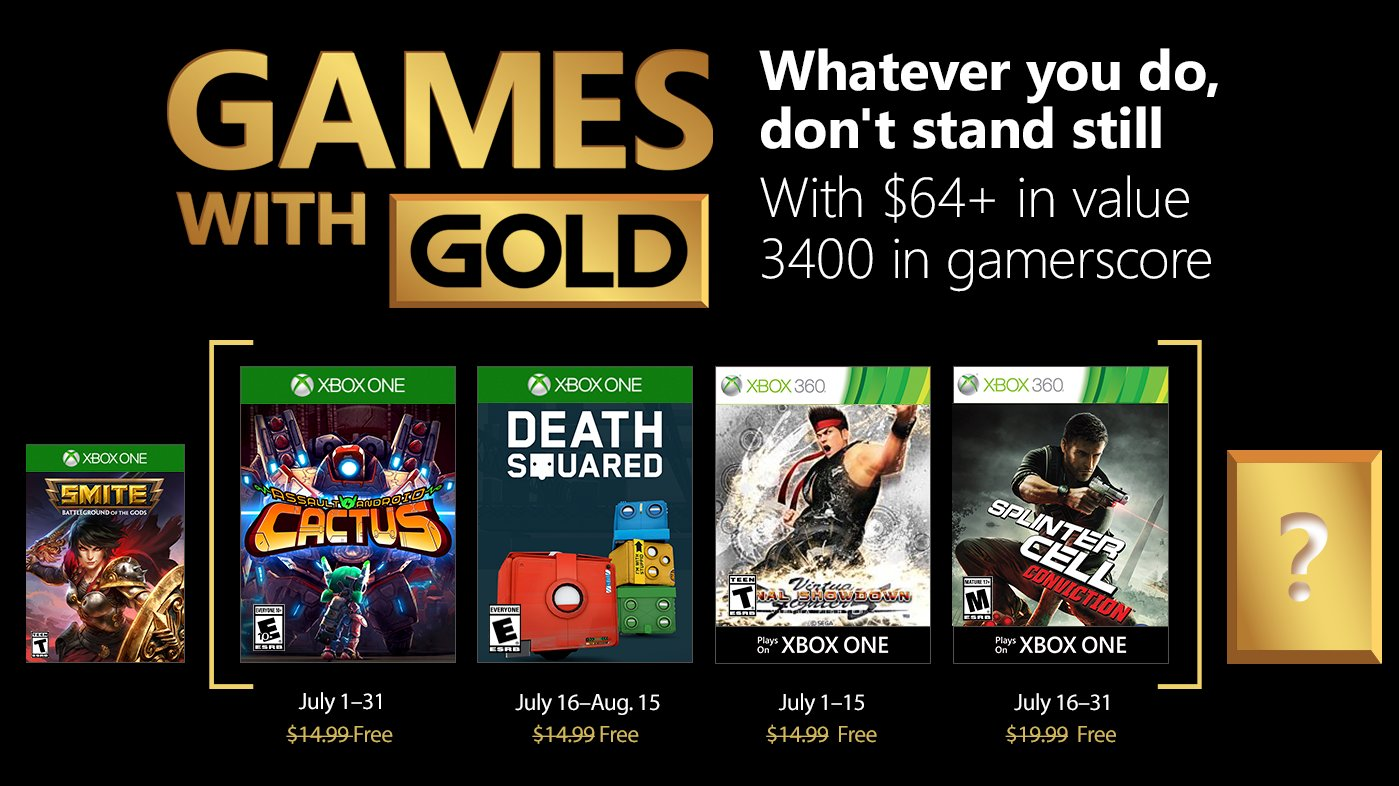 Xbox Live's Games With Gold – July 2018