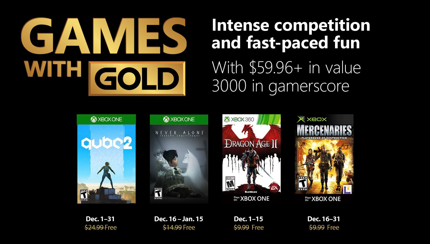 Xbox Live's Games With Gold – December 2018