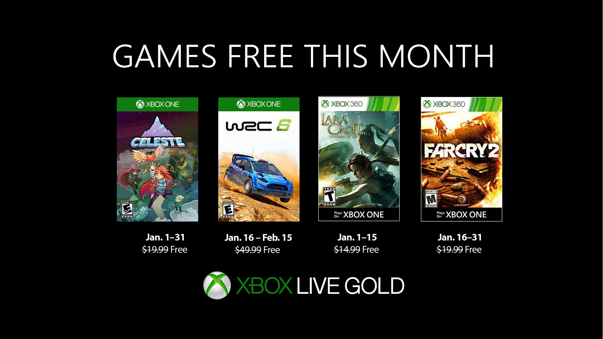 Xbox Live's Games With Gold – January 2019