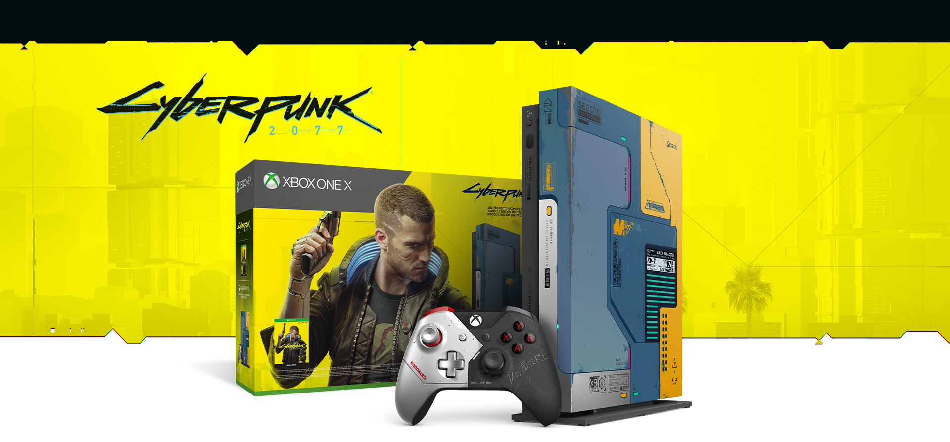 Cyberpunk 2077 Xbox One X Console and Controller