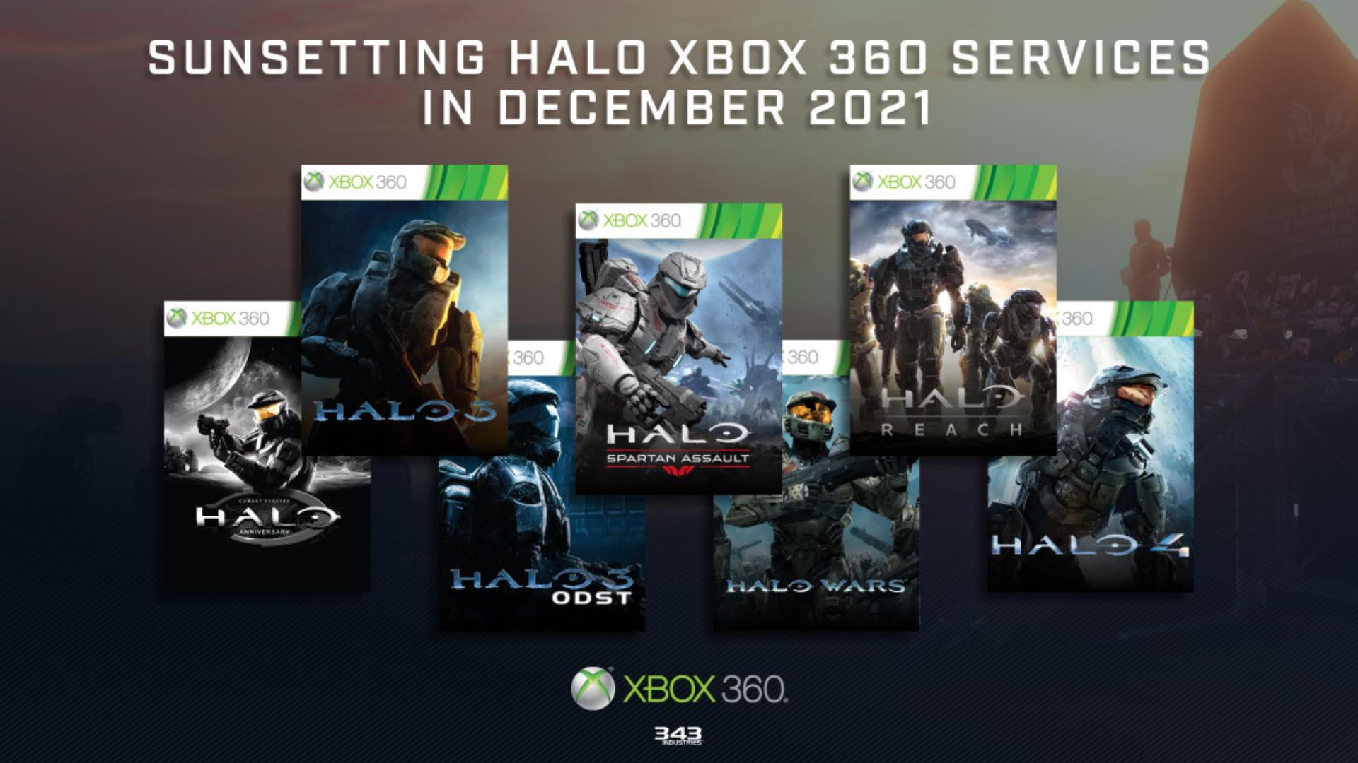 Halo's Xbox 360 Game Services Sunsets In 2021