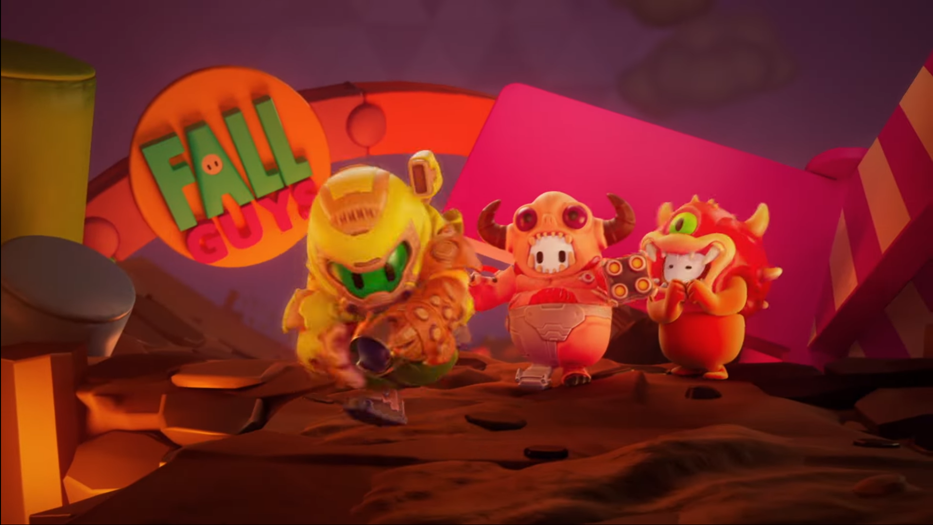 Fall Guys: Ultimate Knockout Reveals DOOM Costumes